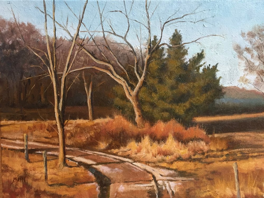 """Farm Road, November"", oil on canvas, 12"" x 16"", $725 (framed)"