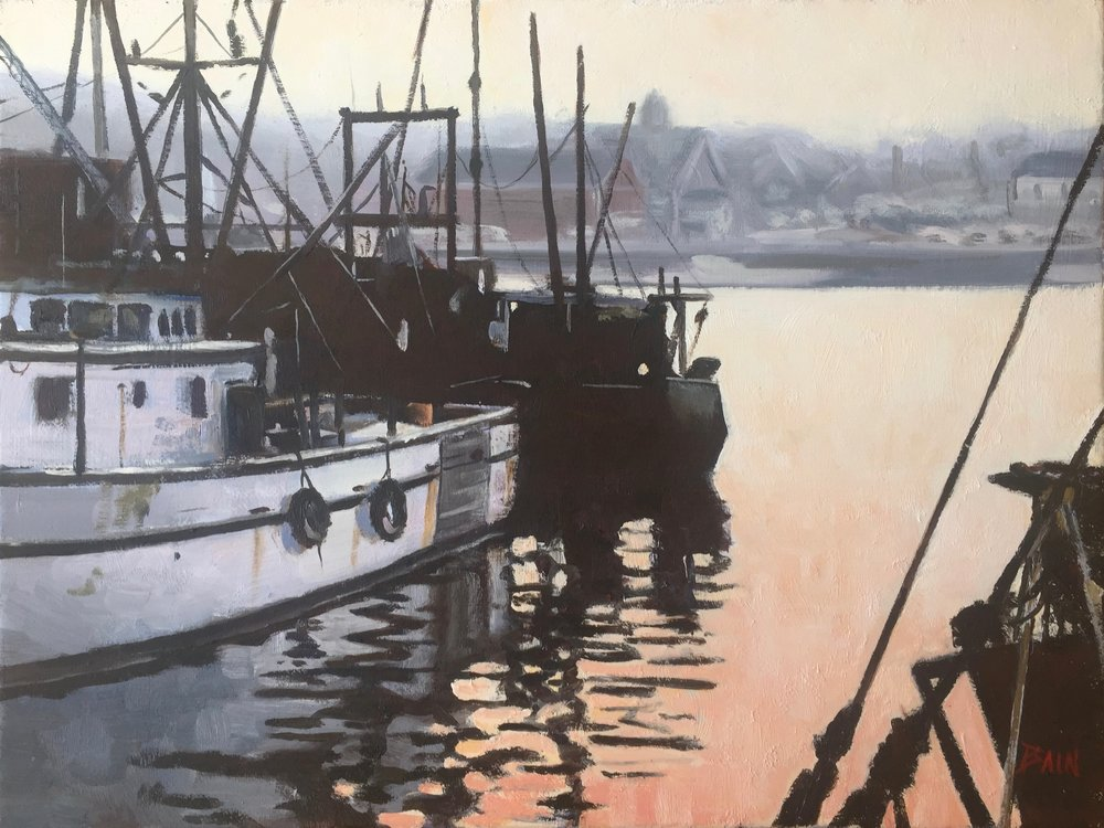 """Gloucester Harbor, Dawn"", oil on canvas, 12"" x 16"", $725 (framed)"