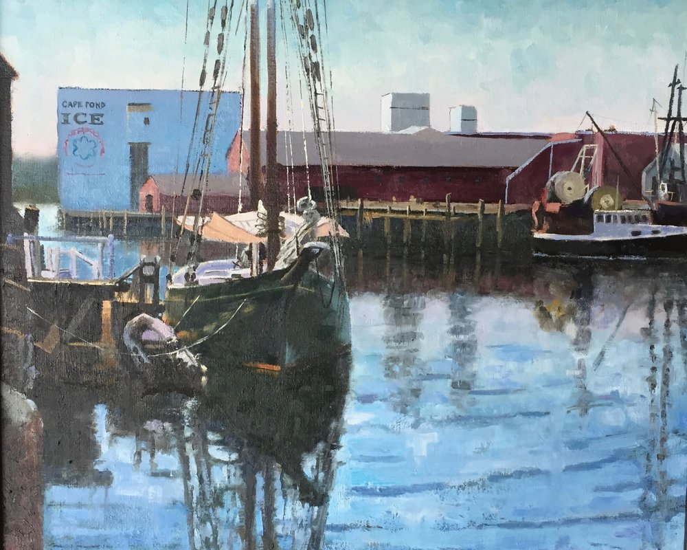 """Gloucester Harbor"", oil on canvas, 20"" x 24"", $1,400 (framed)"