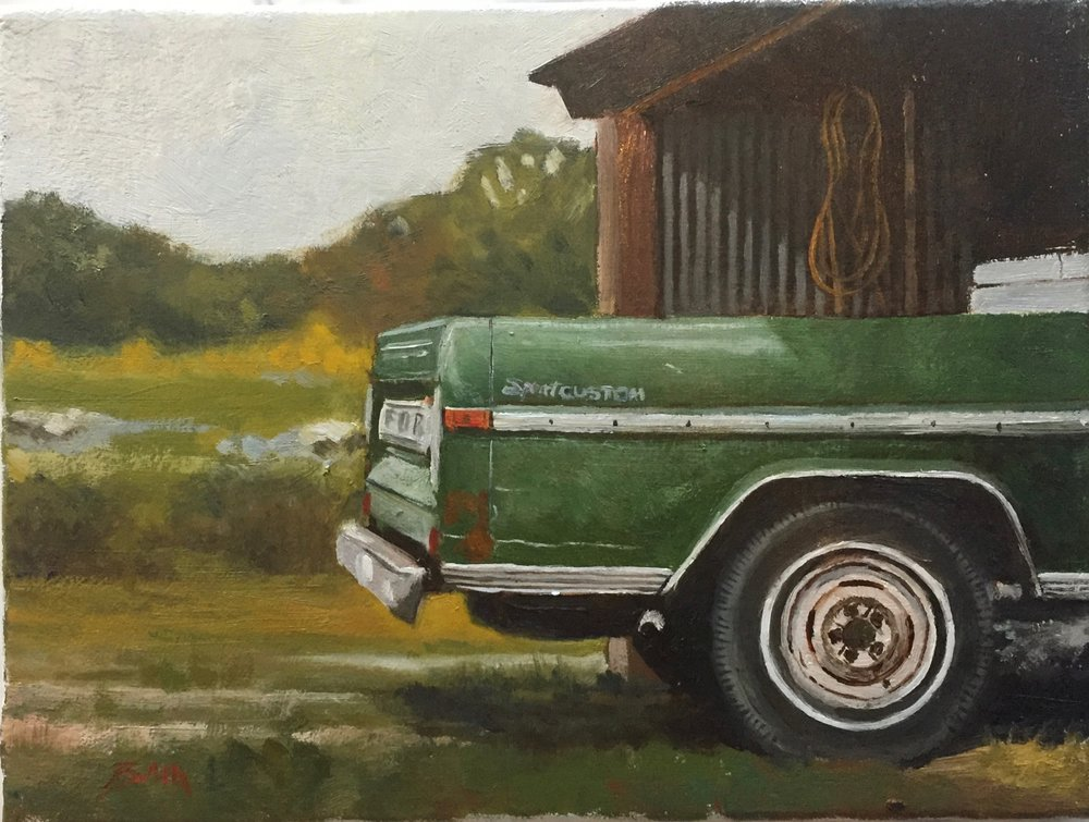 """Green truck Bed"", oil on canvas, 9"" x 12"", $400 (framed)"