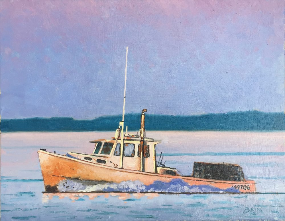 """Lobster Boat, Dusk"", oil on canvas, 11"" x 14"", $525 (framed)"
