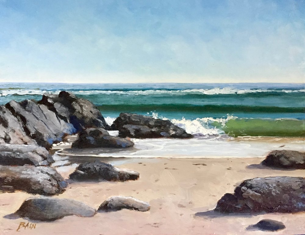 """Marginal Way Cove"", oil on board, 11"" x 14"", $525 (framed)"