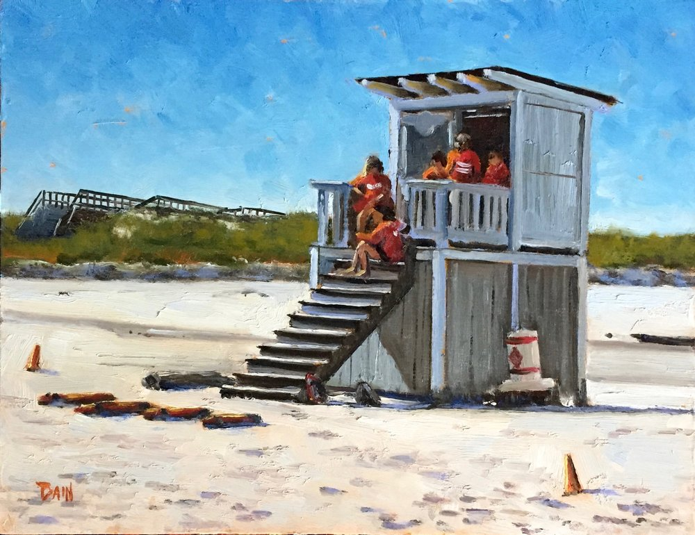 """On Guard, Crane Beach"", oil on board, 11"" x 14"", $525 (framed)"