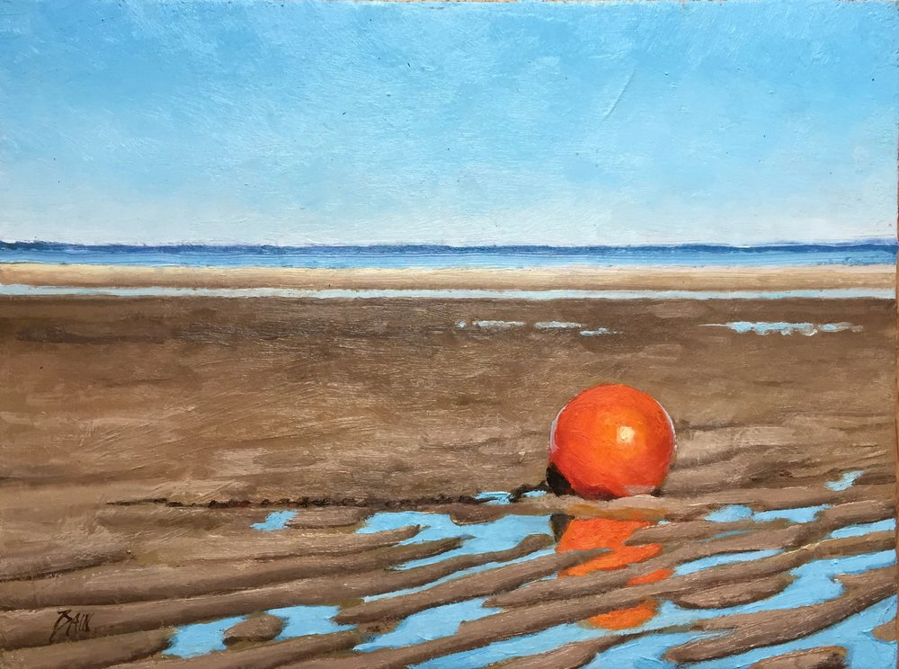 """Orange Buoy At Low Tide"", oil on board, 9"" x 12"", $400 (framed)"
