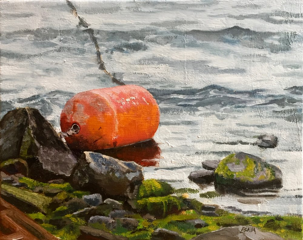 """Orange Buoy & Seaweed"", oil on canvas, 11"" x 14"", $525 (framed)"