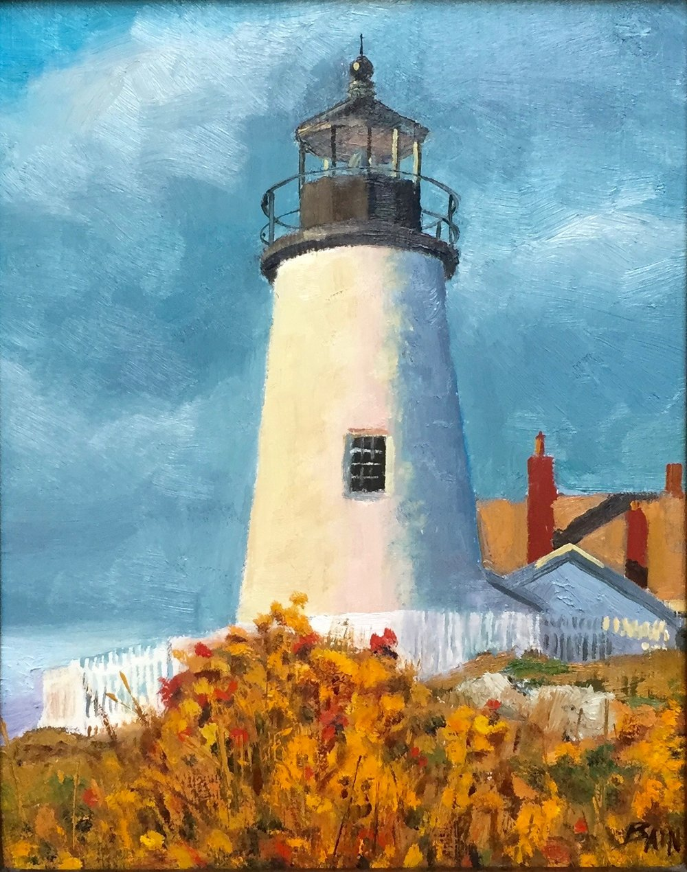 """Pemaquid Light, Morning"", oil on board, 8"" x 10"", $300 (framed)"