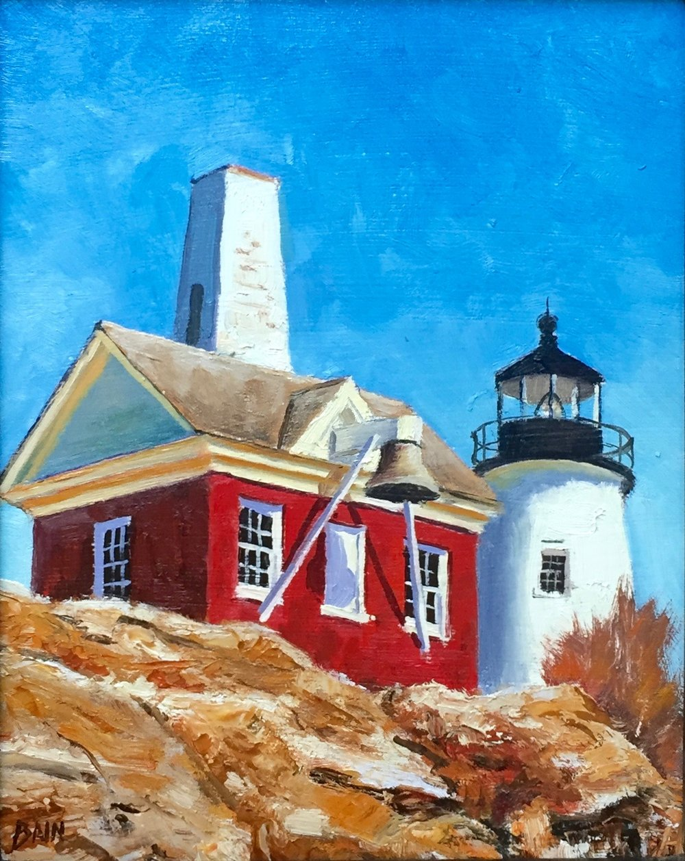 """Pemaquid Light, Noon"", oil on board, 8"" x 10"", $300 (framed)"