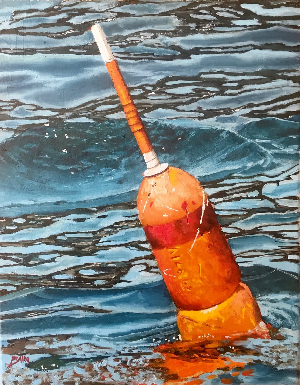 """Orange Buoy"", oil on canvas, 11"" x 14"", $525 (framed)"