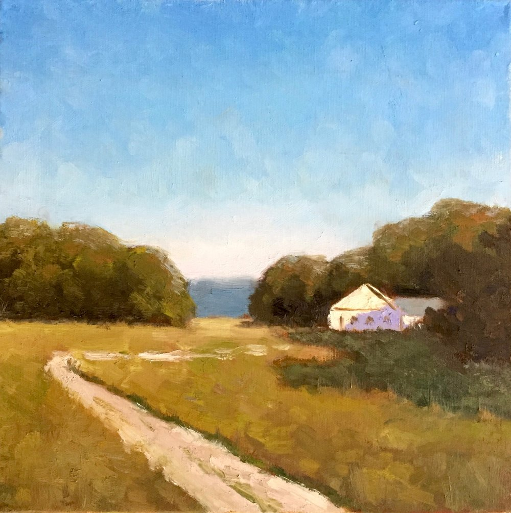 """Quiet Country"", oil on canvas, 12"" x 12"", $475 (framed)"