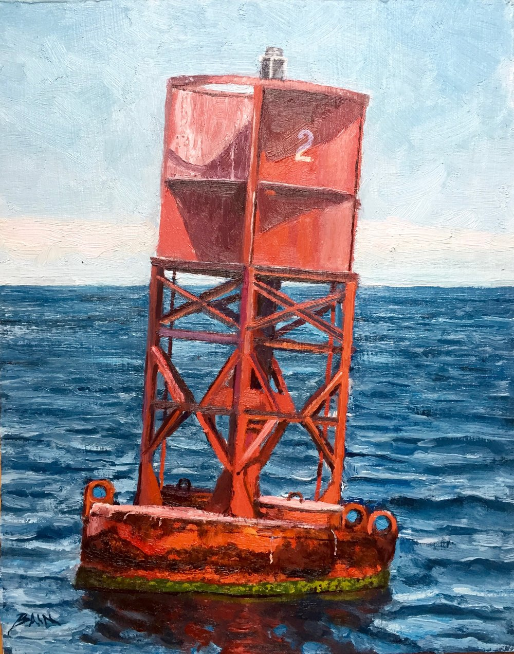"""Red Marker Buoy #2"", oil on board, 8"" x 10"", $300 (framed)"
