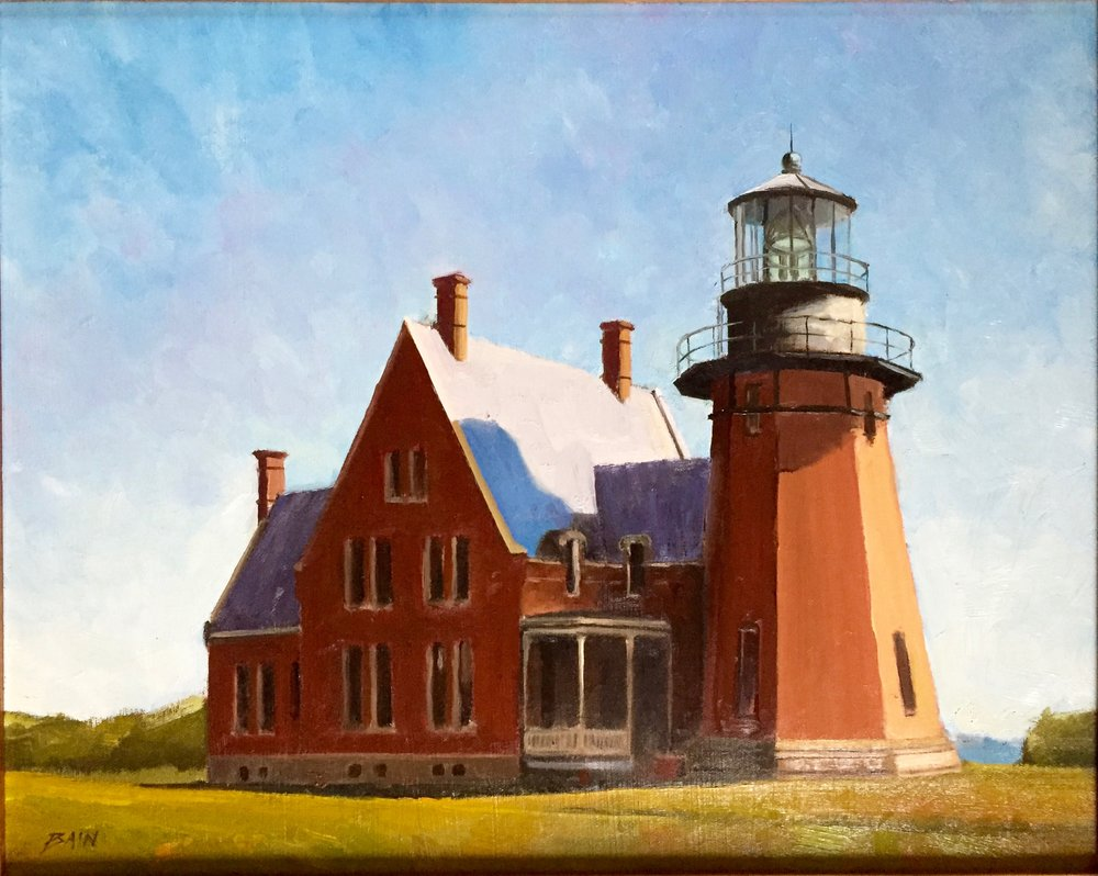 """South Light, Block Island"", oil on canvas, 16"" x 20"", $850 (framed)"