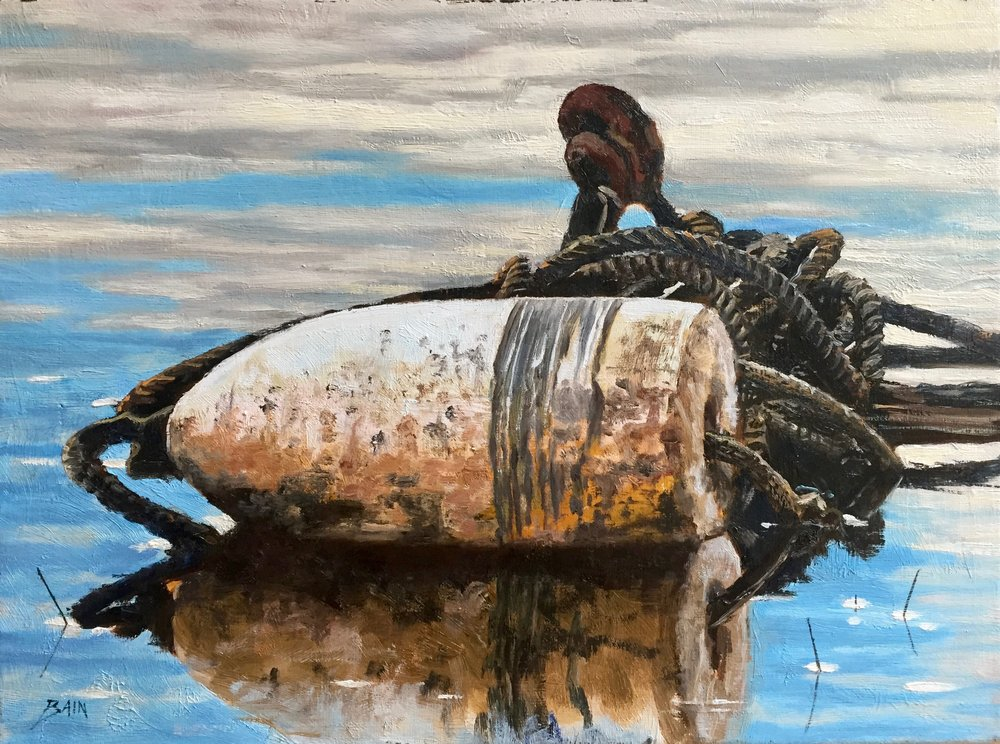 """White Buoy, Rope"", oil on canvas, 12"" x 16"", $725 (framed)"