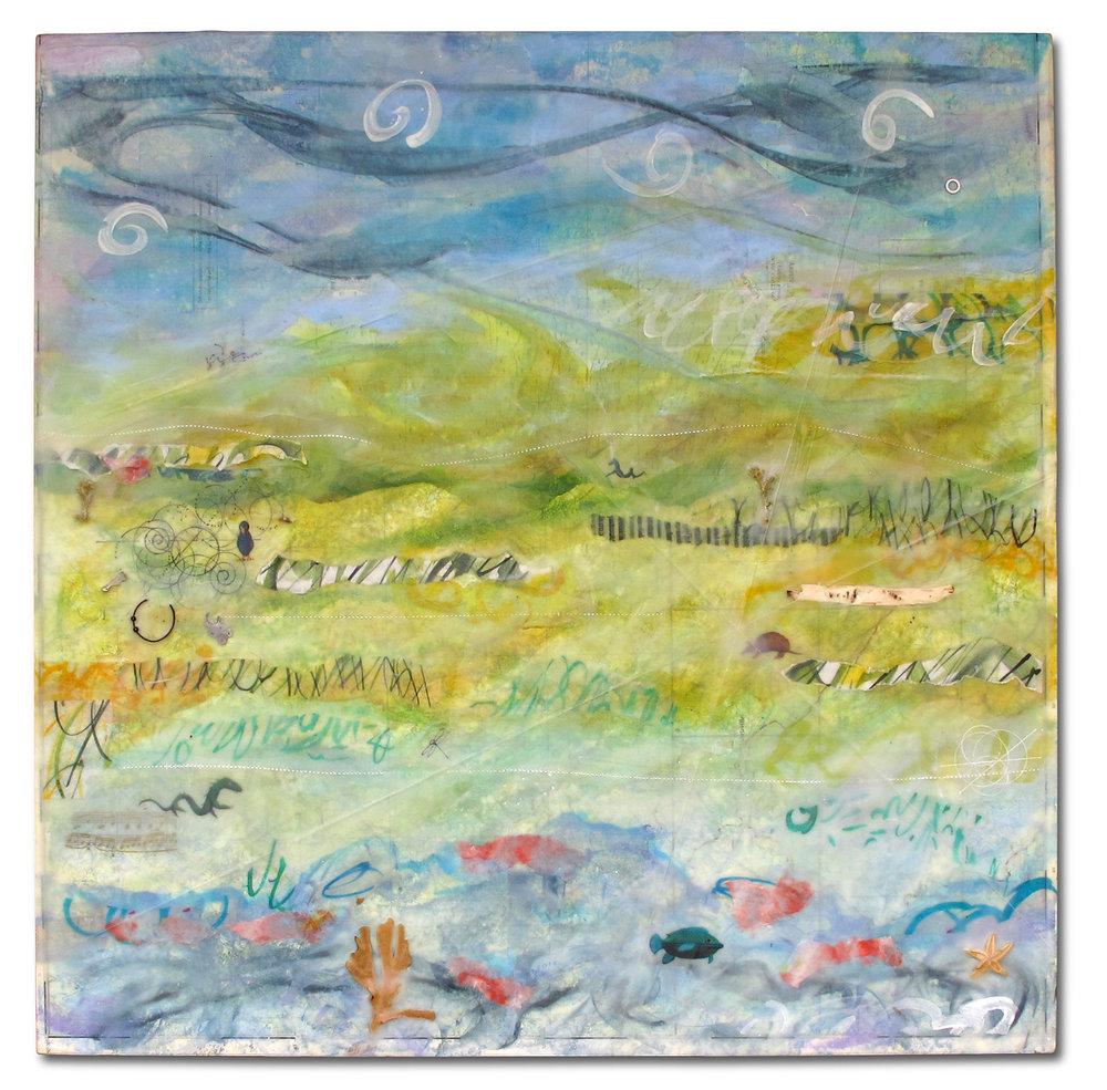 """Exploring Land & Sea"", encaustic, 18"" x 18"", $400"