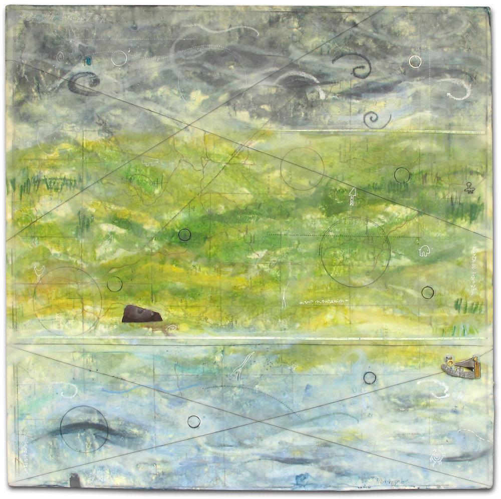 """Charting Storms"", encaustic, 18"" x 18"", $400"