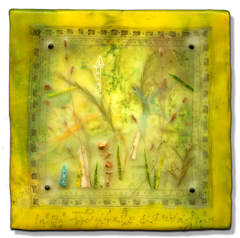 """Flying Forest"", encaustic, 5"" x 5"", $150"