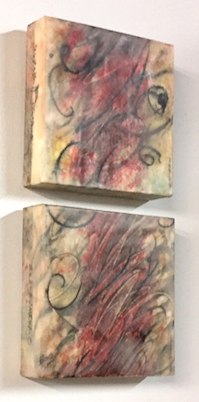 """Red Wind"", (diptych), encaustic, 16"" x 8"", $300"