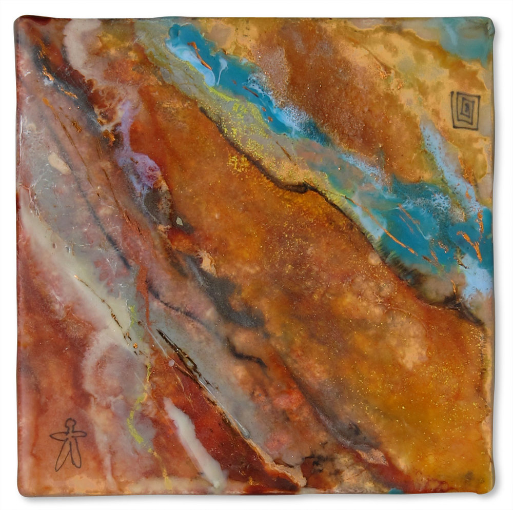 """Rocks III"", encaustic, 4"" x 4"", $75"