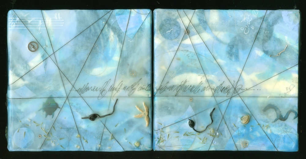 """Time & Tide"", (diptych) encaustic, 5"" x 10"", $225"
