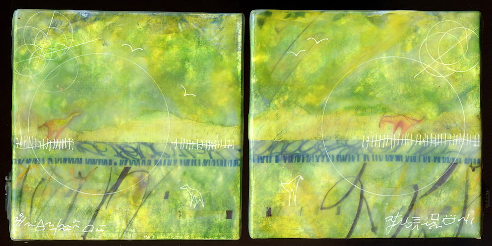 """Lost Land"", (diptych) encaustic, 5"" x 10"", $200"