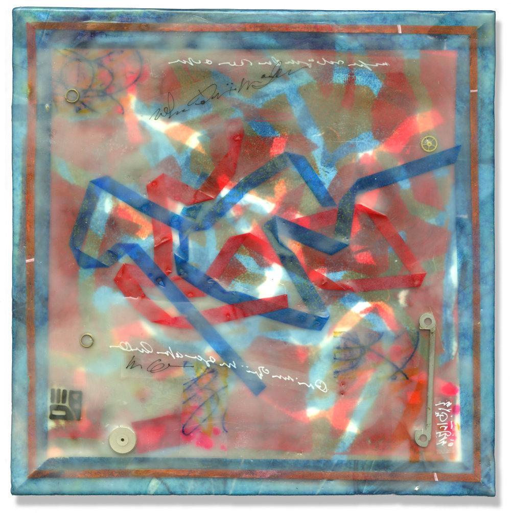 """Streamers"", monotype & encaustic, 8"" x 8"", $200"