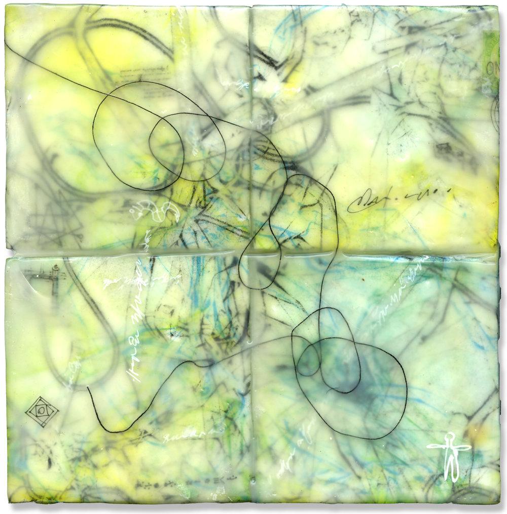 """Tangle"", monotype & encaustic, 7"" x 7"", $175"