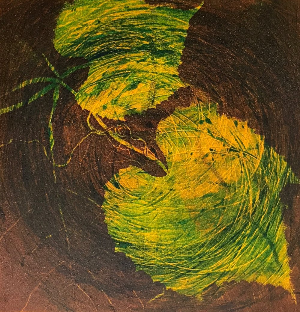 """Autumn Leaves II"", monoprint, 15"" x 13.5"", $250 (framed)"