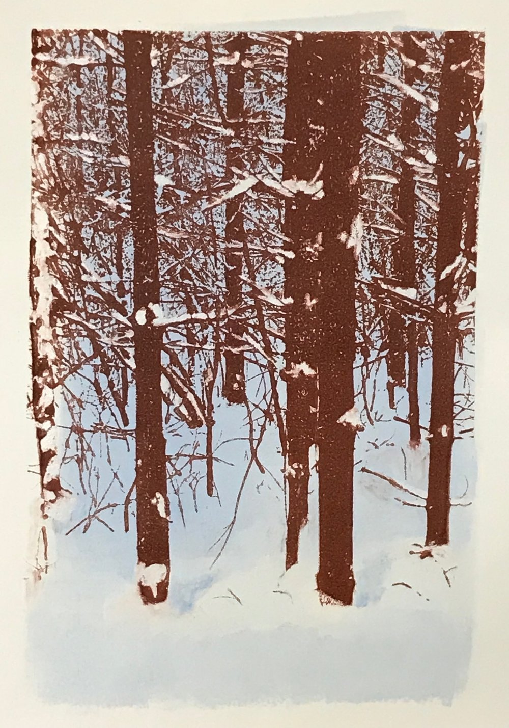 """Quiet Woods"", monoprint, 19.5"" x 14.75"", $300 (framed)"