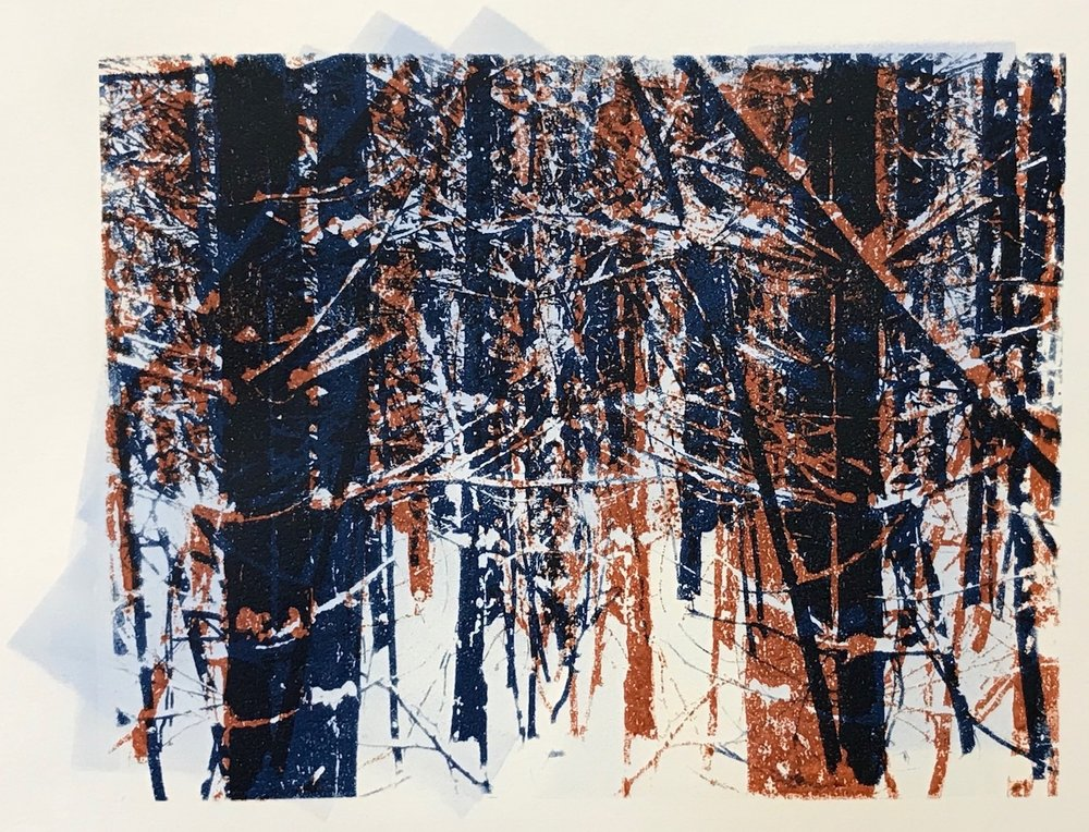 """Norwegian Wood"", monoprint, 8"" x 10"", $150 (unframed)"