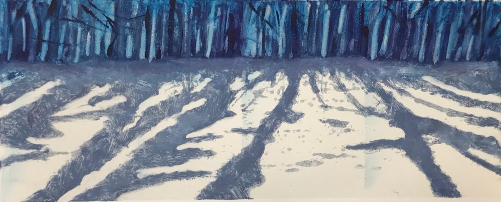 """Snow Shadows II"", monoprint, 6"" x 15"", $150 (unframed)"
