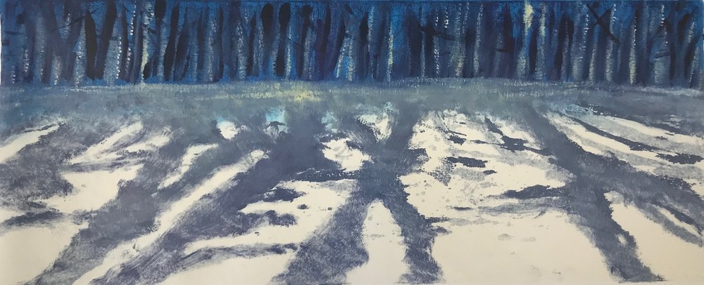 """Snow Shadows III"", monoprint, 6"" x 15"", $150 (unframed)"