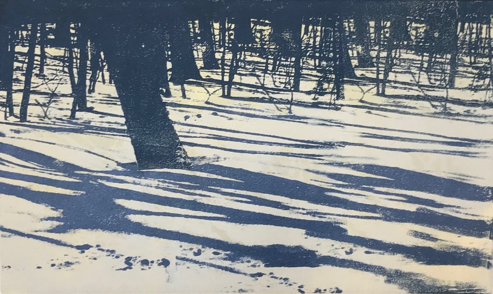 """Snowy Forest"", monoprint, 9"" x 15"", $150 (unframed)"
