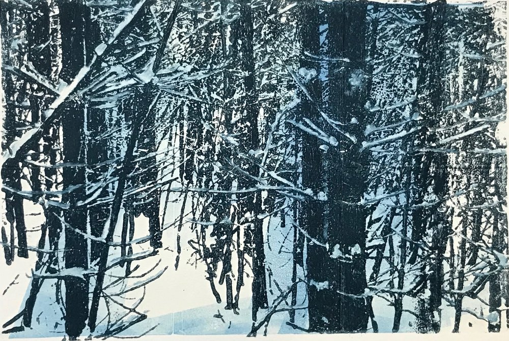 """Snowy Passage II"", monoprint, 8"" x12"", $150 (unframed)"