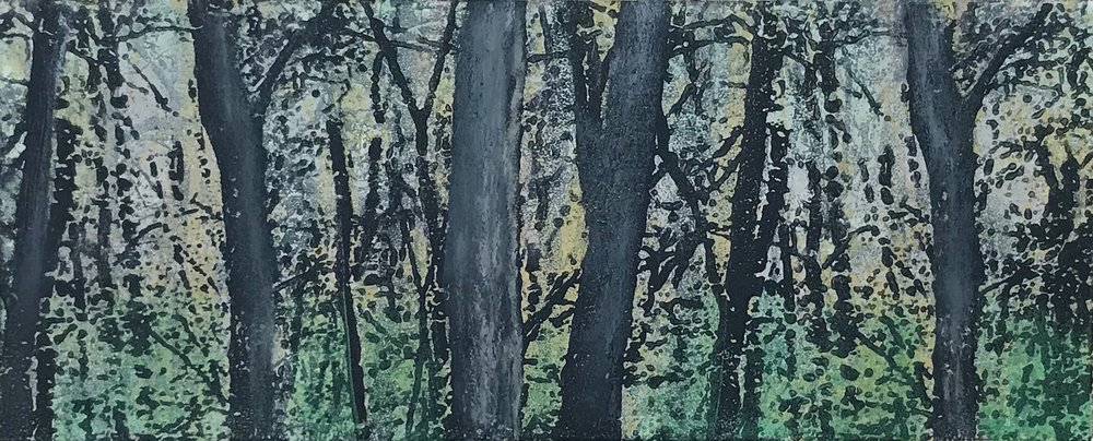 """Spring Woods"", monoprint with pastel, 6"" x 14.5"", $150 (unframed)"