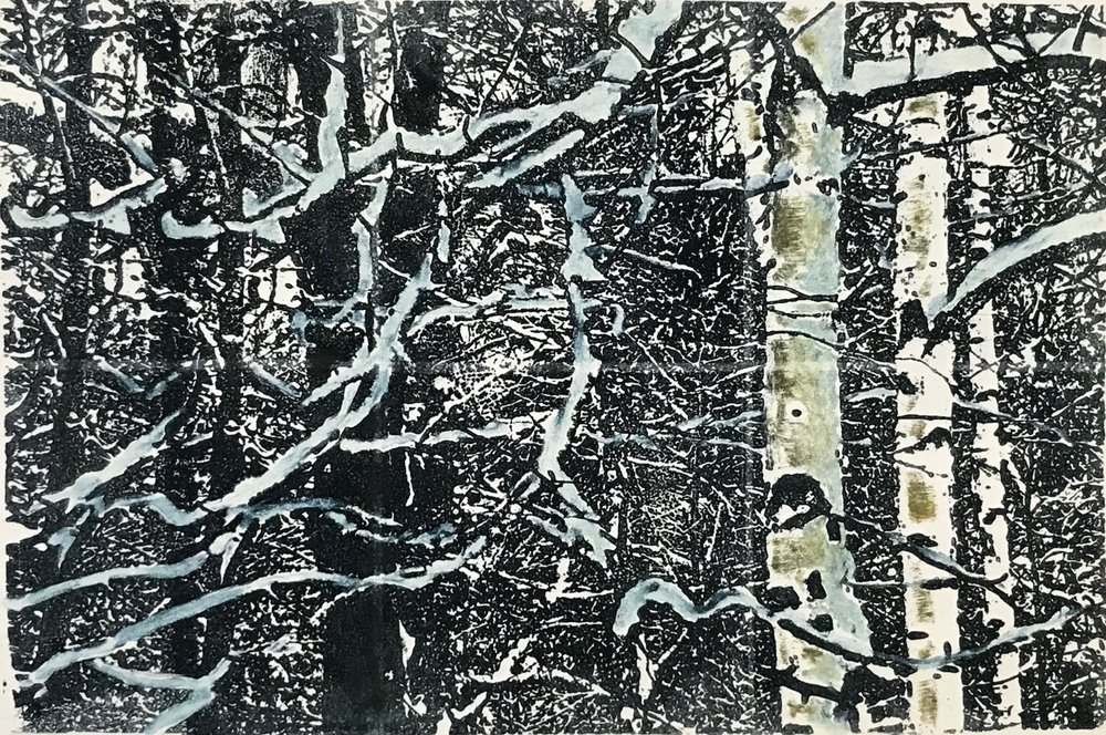 """Wintry Woods II"", monoprint, 8"" x 12"", $150 (unframed)"