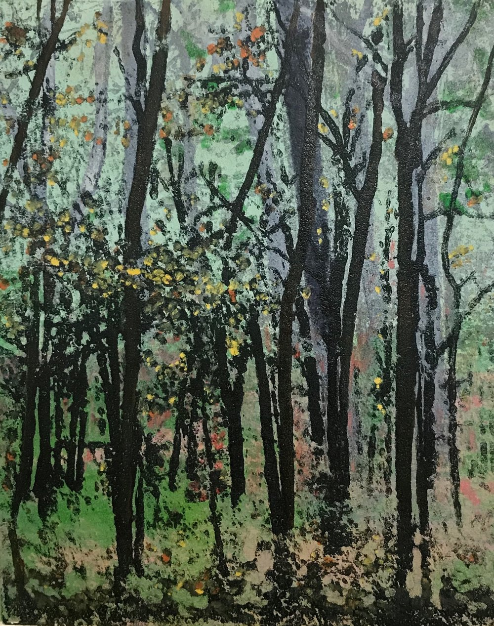 """Wisconsin Woods, Autumn"", monoprint, 10"" x 8"", $150 (unframed)"