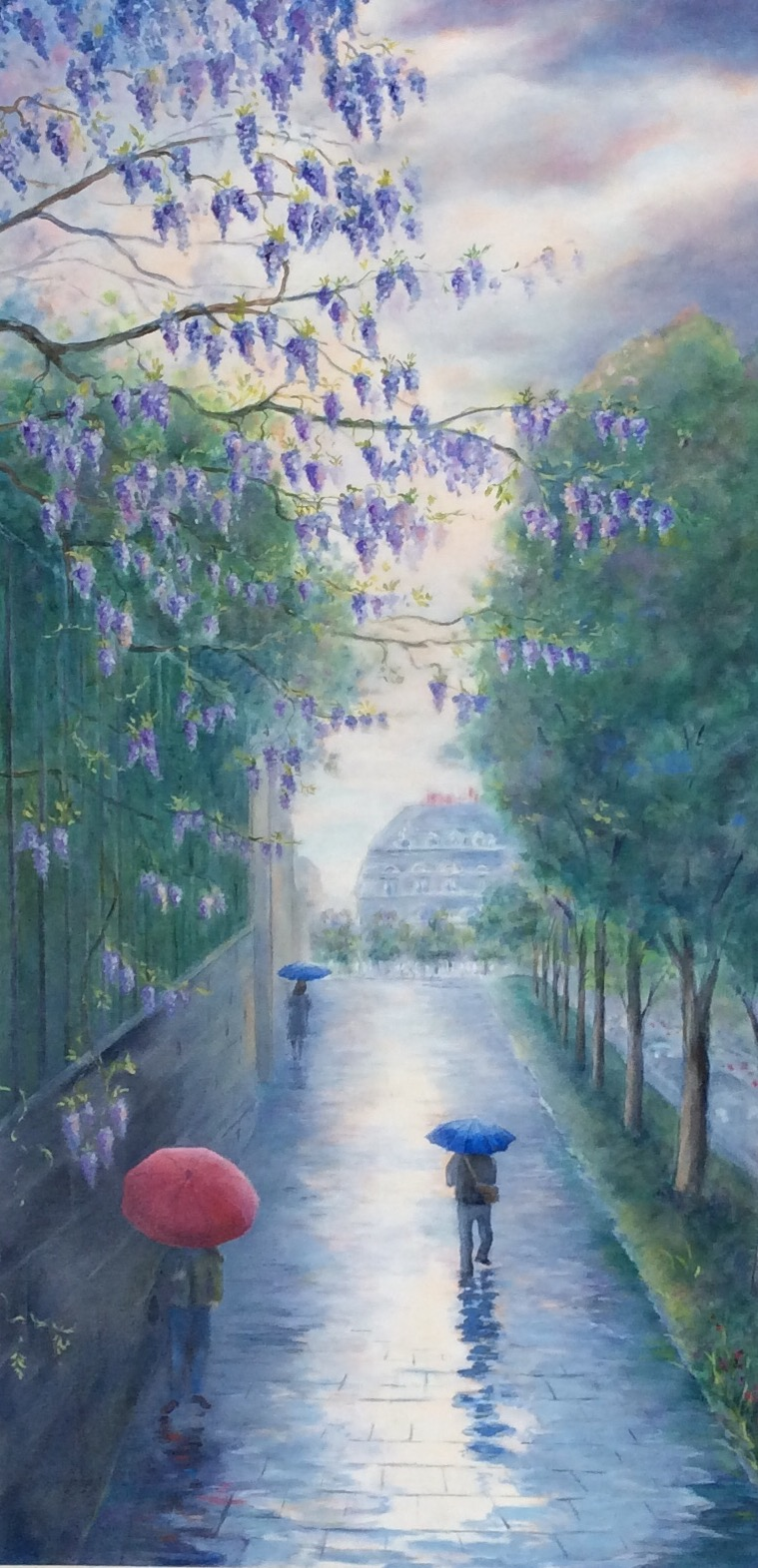 """Rainy Day In Paris"", oil on canvas, 36"" x 18"", $1,950"