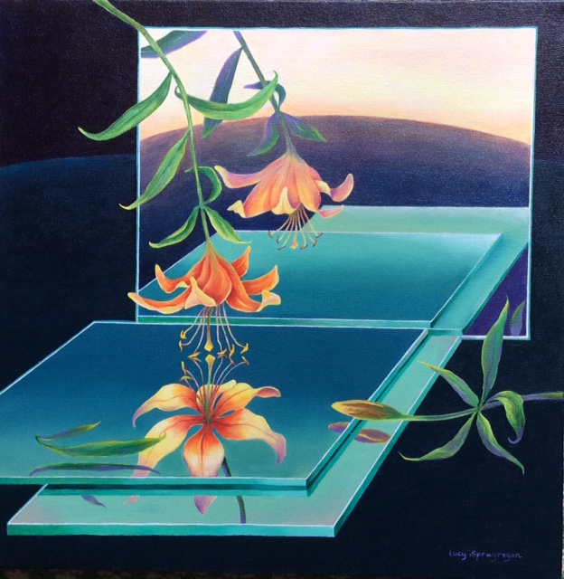 """One Lily, Mirrors"", oil, 20"" x 20"", $1,200"