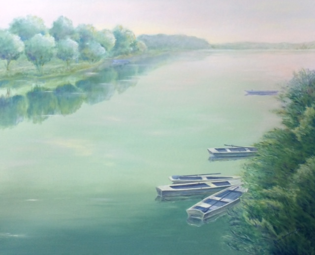 """Flat Bottom Boats"", oil, 24"" x 30"", $1,500"