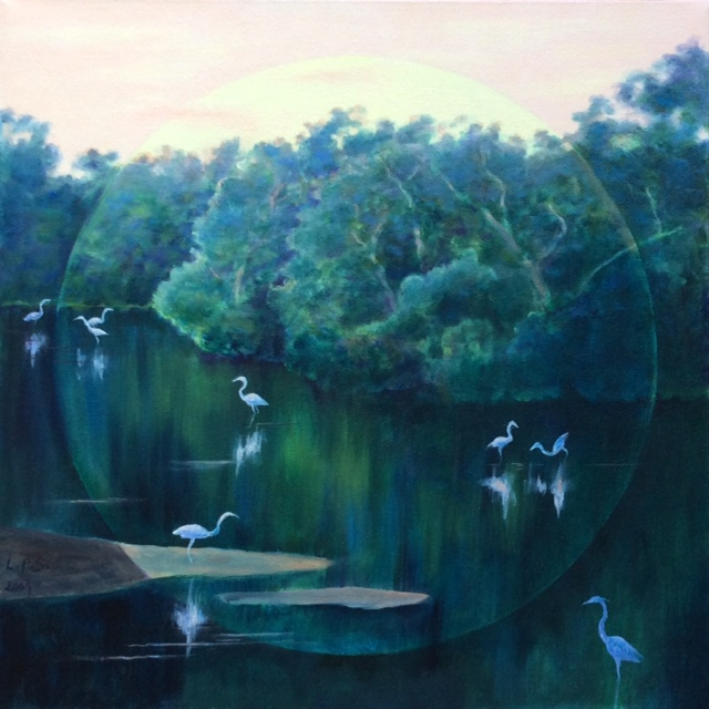 """White Heron Sunset"", oil, 18"" x 18"", $500"