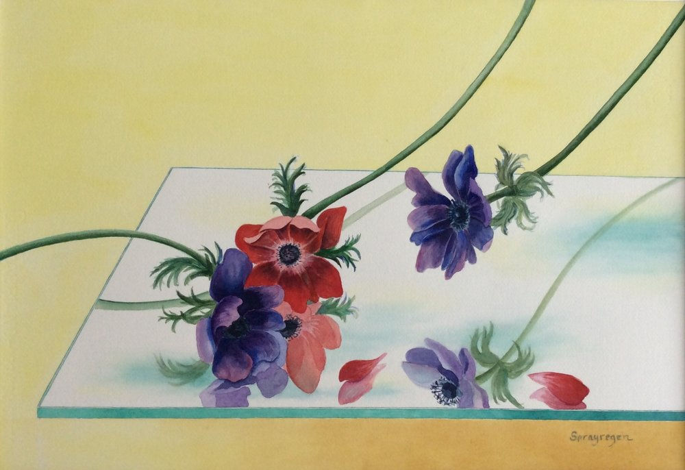 """Anemones"", watercolor, 16"" x 24"", $400"