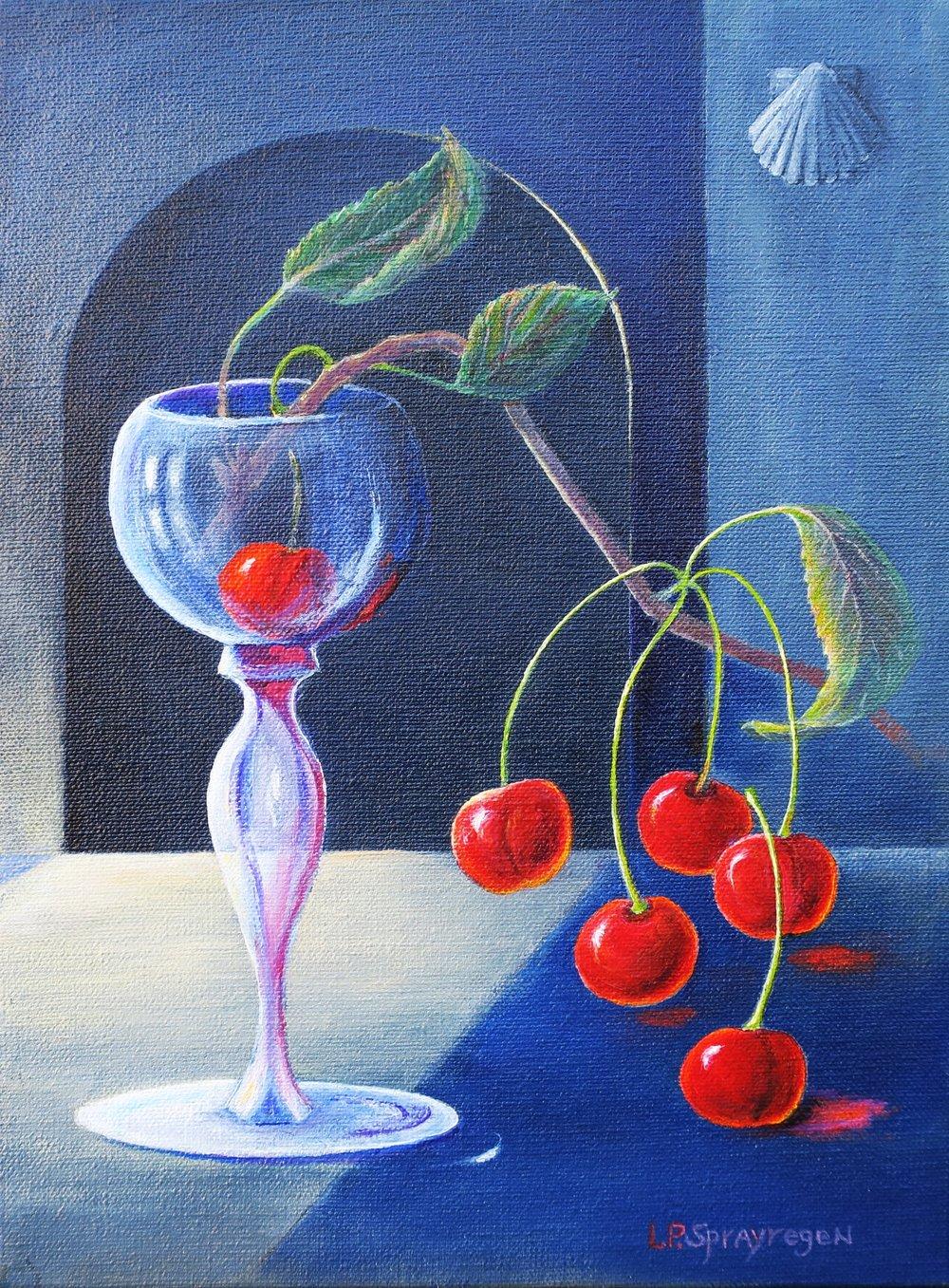 """Cherry Branch"", oil, 12"" x 9"", $450"