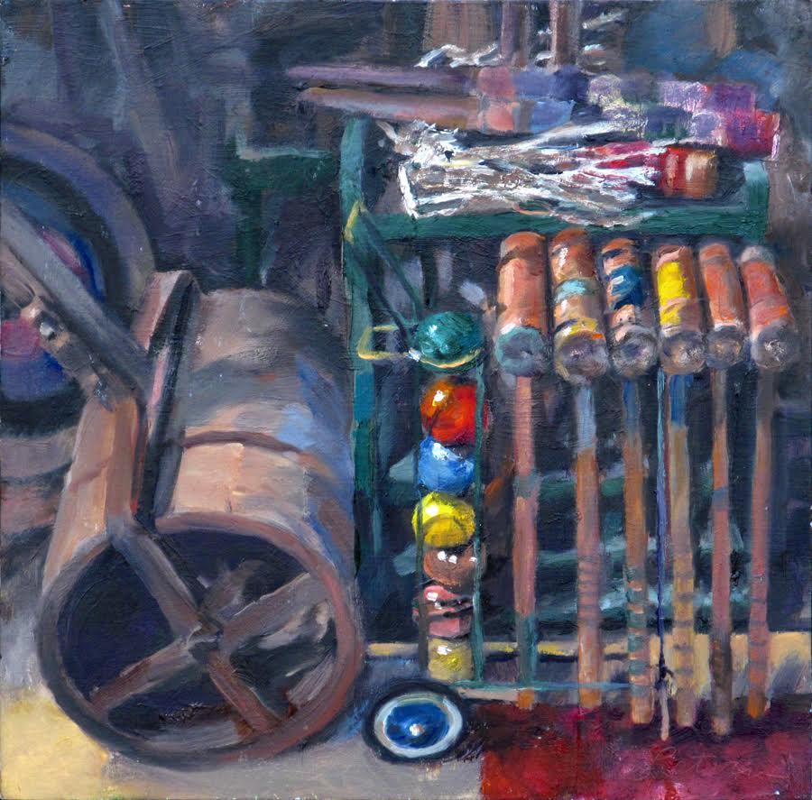 """""""Croquet Set"""", oil, 10"""" x 10"""", $500 (framed)"""