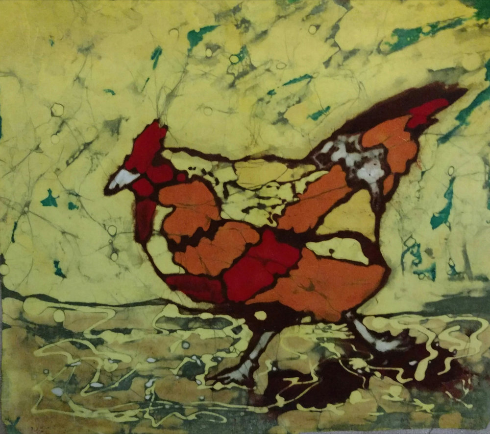 """Crossin' The Road"", batik, 16"" x 17"", $275 (framed)"