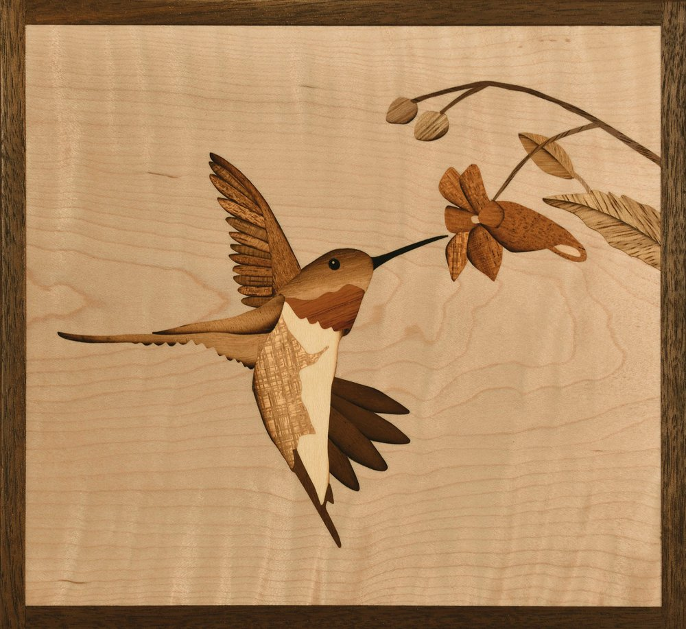 """70 Wingbeats Per Second"", marquetry, 7.25"" x 6.75"""
