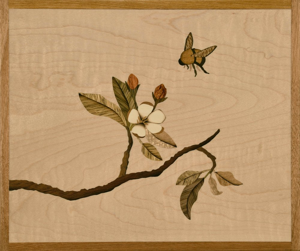 """""""May Vitality"""", marquetry, 7.25"""" x 8.75"""", $795"""