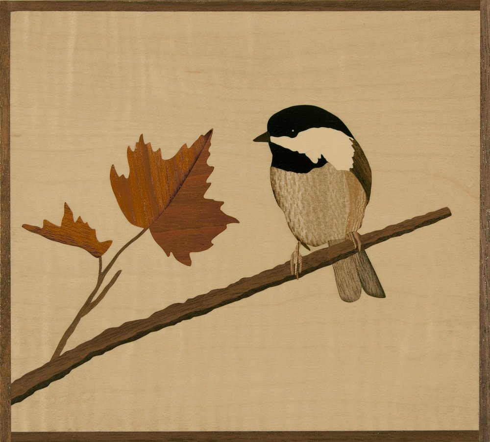 """Autumn Chickadee"", marquetry, 6.75"" x 7.25"", $475"