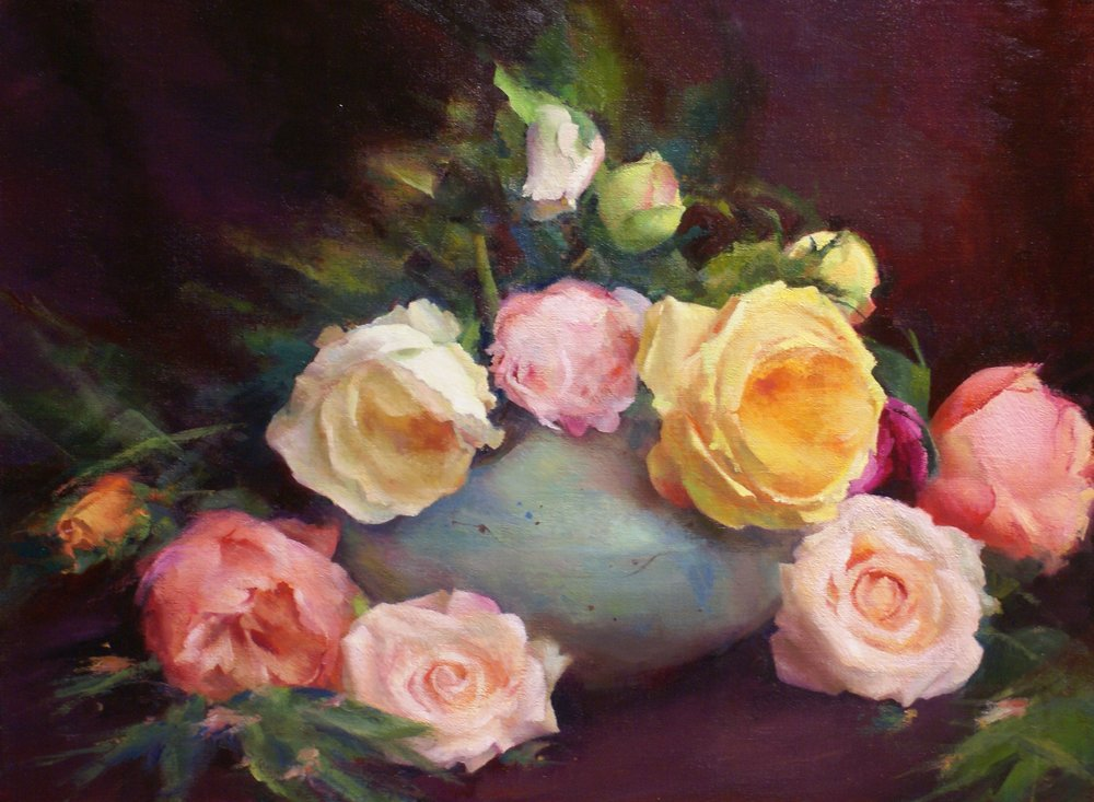 """Arrangement Of Roses"", oil. 18"" x 24"", $3,600 (framed)"