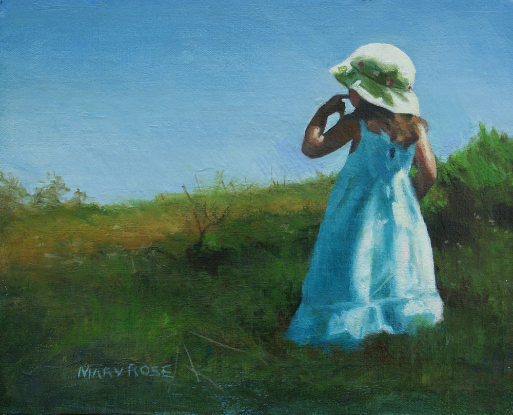 """Ava On Bearberry Hill, Truro"", oil, 8"" x 10"" (commission)"