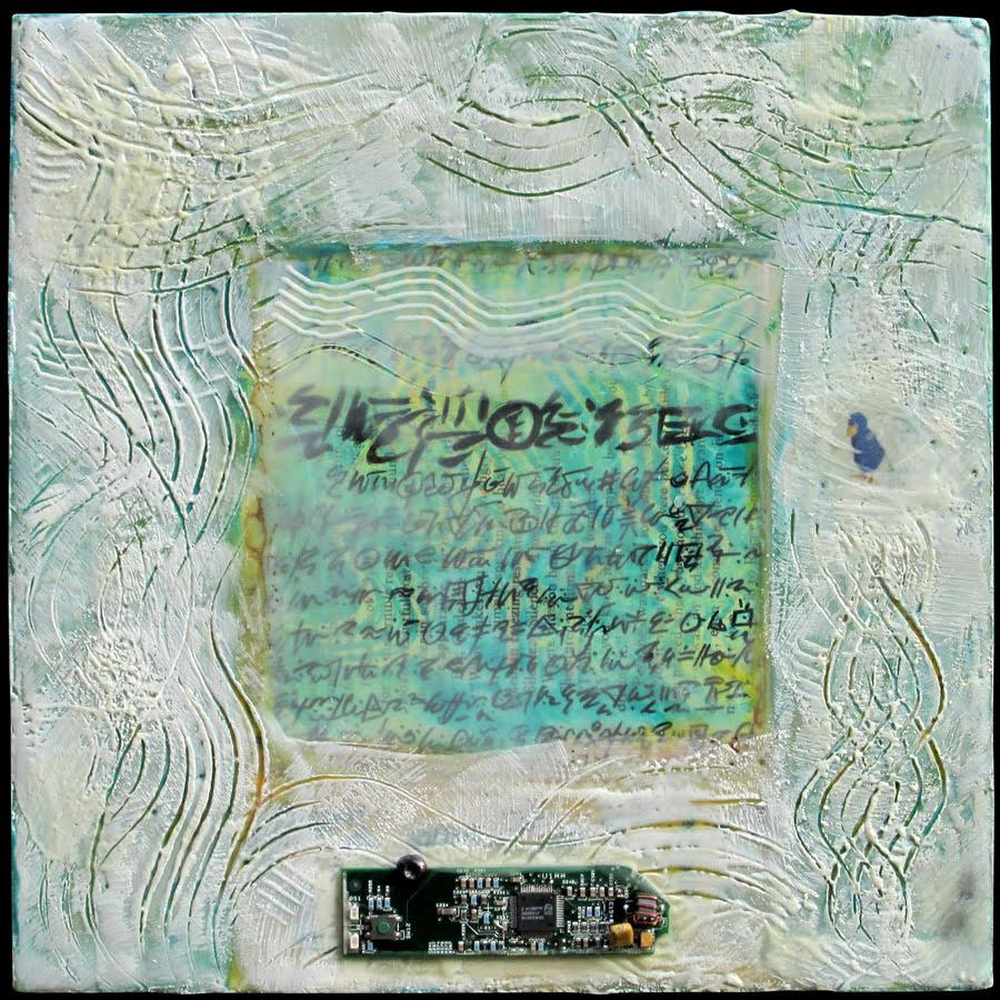 """Manuscript T"", encaustic collage, 10"" x 10"", $250"