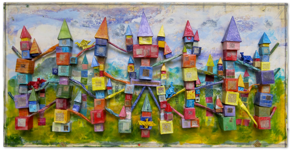 """""""City Of The Five Dragons"""", origami, encaustic, 8"""" x 36"""", $775"""